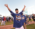 Norichika Aoki (Royals),<br /> OCTOBER 15, 2014 - MLB : Norichika Aoki of the Kansas City Royals celebrates after winning the Major League Baseball American League championship series Game 4 at Kauffman Stadium in Kansas City, Missouri, USA. <br /> (Photo by AFLO)