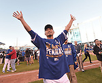 Norichika Aoki (Royals),<br /> OCTOBER 15, 2014 - MLB : Norichika Aoki of the Kansas City Royals celebrates after winning the Major League Baseball American League championship series Game 4 at Kauffman Stadium in Kansas City, Missouri, USA. <br /> (Photo by AFLO)
