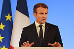 France's President Emmanuel Macron gives a press conference at the France Italy Summit - Vertice Italo-Francese - Sommet Franco-Italien, in Lyon on September 27, 2017.