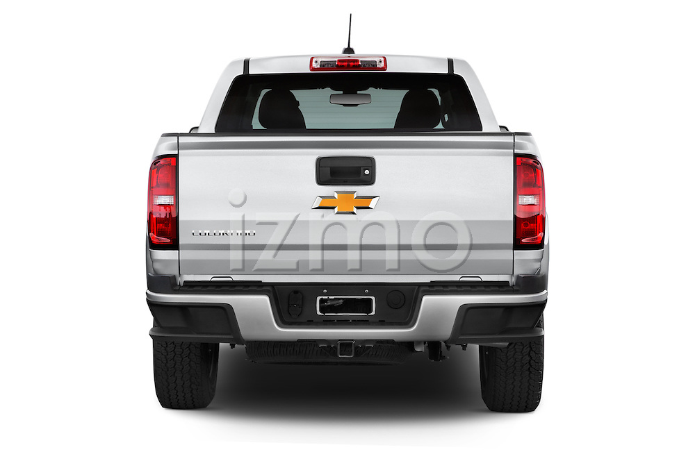 Straight rear view of a 2017 Chevrolet Colorado Z71 Crew Cab 4 Door Pick Up Rear View  stock images
