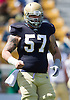 April 21, 2012:  Notre Dame Fighting Irish center Mike Golic Jr. (57) in action during the Notre Dame Blue-Gold Spring game at Notre Dame Stadium in South Bend, Indiana.  The Defense topped the Offense by a score of 42-31.