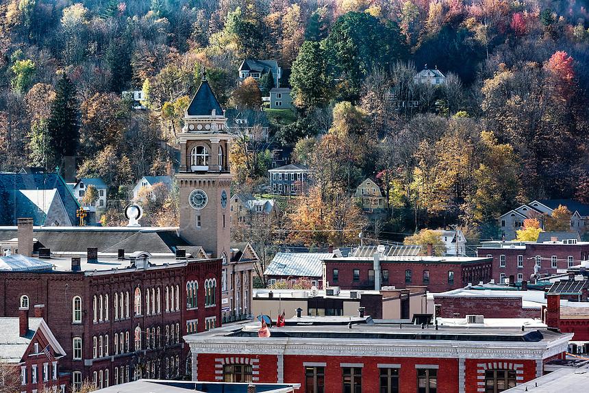 Autum view of downtown Montpelier., Vermont, USA.