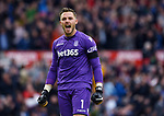 Stoke City goalkeeper Jack Butland celebrates after Stoke City's first goal during the premier league match at the Britannia Stadium, Stoke. Picture date 19th August 2017. Picture credit should read: Robin Parker/Sportimage
