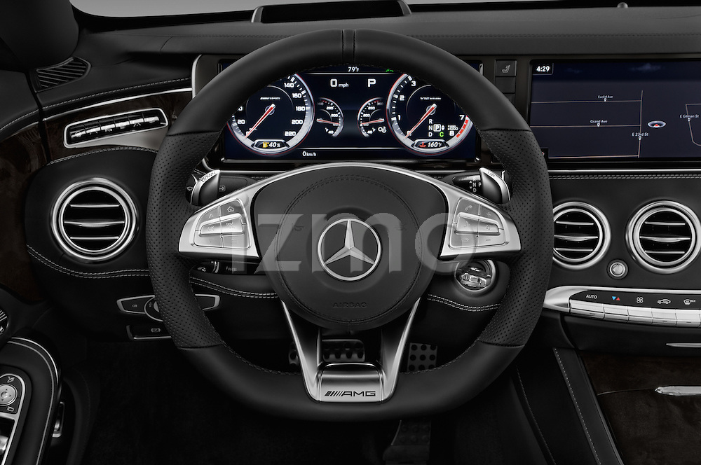 Car pictures of steering wheel view of a 2017 Mercedes Benz S-Class S65-AMG 2 Door Convertible Steering Wheel