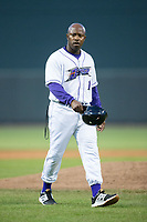 Winston-Salem Dash manager Willie Harris (1) walks off the field after having been ejected from the game against the Buies Creek Astros at BB&T Ballpark on April 15, 2017 in Winston-Salem, North Carolina.  The Astros defeated the Dash 13-6.  (Brian Westerholt/Four Seam Images)