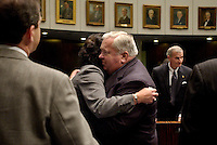 TALLAHASSEE, FL. 3/18/05-Sen. Nancy Argenziano, R-Dunnellon, hugs Sen. Jim King, R-Jacksonville, after session, Friday at the Capitol in Tallahassee. Argenziano and King both voted against measures by Sen. Dan Webster, R-Winter Garden, to intervene in the Terri Schiavo case. COLIN HACKLEY PHOTO