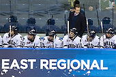 Denny Kearney (Yale - 19), Kevin Limbert (Yale - 10), Broc Little (Yale - 14), Kenny Agostino (Yale - 18), Keith Allain (Yale - Head Coach), ?, Chad Ziegler (Yale - 59) - The Yale University Bulldogs defeated the Air Force Academy Falcons 2-1 (OT) in their East Regional Semi-Final matchup on Friday, March 25, 2011, at Webster Bank Arena at Harbor Yard in Bridgeport, Connecticut.
