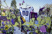 """Northside """"Rest in Peace"""" jersey number 80 on memorial fence honoring Prince. Paisley Park Studios Chanhassen Minnesota MN USA"""
