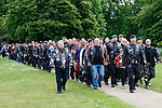 LONDON, ENGLAND, 22 May ,2014.  Bikers march to the Lee Rigby Memorial to mark the first anniversary of the murder of Fusilier Lee Rigby  near his Woolwich barracks.
