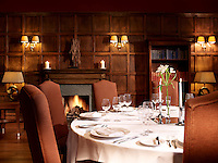 Tradtional wood-panelled walls in the restaurant of the Marine Hotel in North Berwick create an intimate and cosy atmosphere for dining