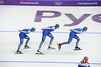 OLYMPIC GAMES: PYEONGCHANG: 18-02-2018, Gangneung Oval, Long Track, Team Pursuit Men, Team Norway, Sverre Lunde Pedersen, Sindre Henriksen, Simen Spiler Nilsen, ©photo Martin de Jong
