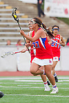 Redondo Beach, CA 05/14/11 -  Keaton Otake (Los Alamitos #27) and Julia Denney (Redondo Union #11)in action during the 2011 US Lacrosse / CIF Southern Section Division 1 Girls Varsity Lacrosse Championship, Los Alamitos defeated Redondo Union 17-5.