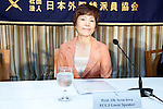 """Tokyo, Japan - The Professor of Takushoku University Oh Seon-hwa speaks about the incident at the airport in South Korea when immigration authorities refused her entry to this country without clear reasons this week during a press conference at The Foreign Correspondents' Club of Japan, July 31, 2013. Oh Seon-hwa had planned to attend a relative's wedding in South Korea but was forced to return to Japan, according to Japanese media no reason was given by the immigration authorities, only that it was """"orders from high up"""". The Professor is a naturalized Japanese citizen and a vocal critic of Seoul's policies toward Japan. (Photo by Rodrigo Reyes Marin/AFLO)"""