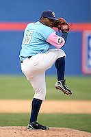 May 3, 2009:  Pitcher Roy Merritt of the Binghamton Mets, Eastern League Class-AA affiliate of the New York Mets, during a game at the NYSEG Stadium in Binghamton, NY.  The Mets wore special blue and pink jerseys that were auctioned off after the game to benefit breast and prostate cancer.  Photo by:  Mike Janes/Four Seam Images