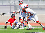 Palos Verdes, CA 03/26/16 - Nick Johantgen (Palos Verdes #22) ,Sander Lush (San Clemente #8) and unidentified Palos Verdes player(s) in action during the CIF Boys Lacrosse game between San Clemente Tritons and the Palos Verdes Seakings at Palos Verdes High School.  Palos Verdes defeated San Clemente 11-6.