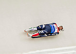 4 December 2015: Emanuel Rieder, sliding for Italy, enters a curve during his first run of the Viessmann Luge World Cup at the Olympic Sports Track in Lake Placid, New York, USA. Mandatory Credit: Ed Wolfstein Photo *** RAW (NEF) Image File Available ***