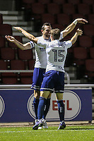 Paul Hayes of Wycombe Wanderers (left) celebrates scoring his team's 2nd goal of the game to make it 0-2 with Dayle Southwell of Wycombe Wanderers (right) during The Checkatrade Trophy match between Northampton Town and Wycombe Wanderers at Sixfields Stadium, Northampton, England on 30 August 2016. Photo by David Horn / PRiME Media Images.
