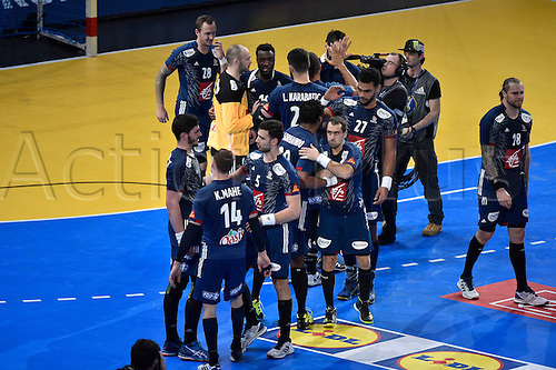 11.01.2017. Accor Arena, Paris, France. 25th World Handball Championships France versus Brazil.  Team France celebrate