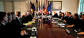 United States President Barack Obama meets with Senior Military Leadership including U.S. Secretary of Defense Chuck Hagel and Chairman of the Joint Chiefs of Staff General Martin Dempsey, U.S. Army, at the Pentagon in Washington, D.C. on October 6, 2014.  <br /> Credit: Dennis Brack / Pool via CNP