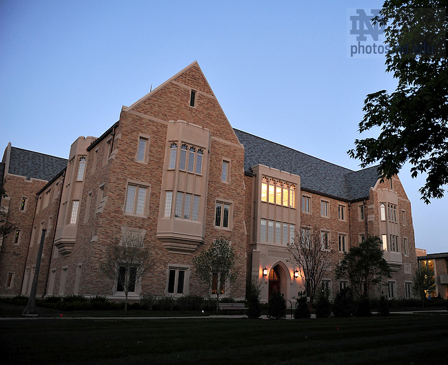 Eck Hall of Law at dusk..Photo by Matt Cashore/University of Notre Dame
