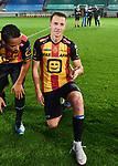 2018-08-27 / Voetbal / Seizoen 2018-2019 / KV Mechelen - Albert Quevy Mons / Cl&eacute;ment Tainmont viert de overwinning en steekt twee vingers op<br /> <br /> ,Foto: Mpics