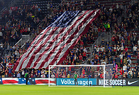 WASHINGTON, DC - OCTOBER 11: Fans unveil a flag during a game between Cuba and USMNT at Audi Field on October 11, 2019 in Washington, DC.