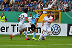 11.08.2019, Carl-Benz-Stadion, Mannheim, GER, DFB Pokal, 1. Runde, SV Waldhof Mannheim vs. Eintracht Frankfurt, <br /> <br /> DFL REGULATIONS PROHIBIT ANY USE OF PHOTOGRAPHS AS IMAGE SEQUENCES AND/OR QUASI-VIDEO.<br /> <br /> im Bild: Gianluca Korte (SV Waldhof Mannheim #17) gegen Makoto Hasebe (Eintracht Frankfurt #20) David Abraham (Eintracht Frankfurt #19)<br /> <br /> Foto © nordphoto / Fabisch