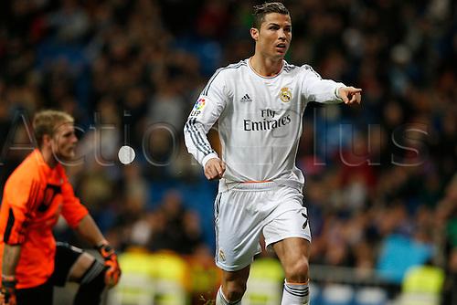 06.01.2014. Madrid, Spain. La Liga football. Real Madrid versus Celta Vigo  at Santiago Bernabeu stadium.  Cristiano Ronaldo (Portuguese forward of Real Madrid) celebrating his team's goal