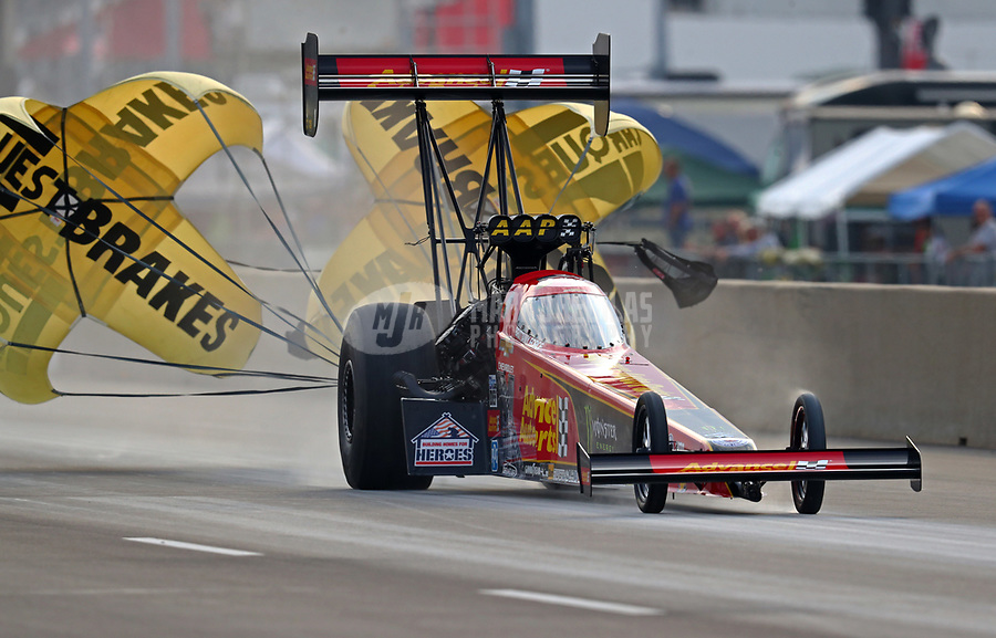 Jun 2, 2018; Joliet, IL, USA; NHRA top fuel driver Brittany Force during qualifying for the Route 66 Nationals at Route 66 Raceway. Mandatory Credit: Mark J. Rebilas-USA TODAY Sports