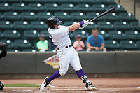 Andrew Vaughn (12) of the Winston-Salem Dash at bat against the Carolina Mudcats at BB&T Ballpark on August 4, 2019 in Winston-Salem, North Carolina. The Dash defeated the Mudcats 7-5. (Brian Westerholt/Four Seam Images)