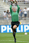 1 August 2004: Kristin Luckenbill during pregame warmups. The United States defeated China 3-1 at Rentschler Field in East Hartford, CT in an women's international friendly soccer game..