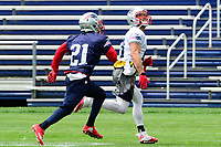 June 7, 2017: New England Patriots wide receiver Julian Edelman (11) tracks the ball as cornerback Malcolm Butler (21) tries to cover the play at the New England Patriots mini camp held on the practice field at Gillette Stadium, in Foxborough, Massachusetts. Eric Canha/CSM
