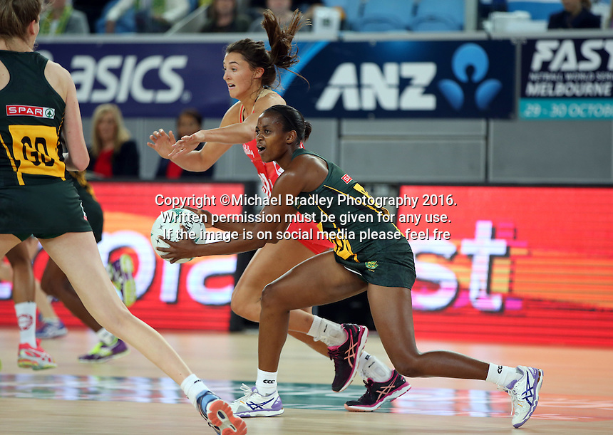04.09.2016 South Africa's Precious Mthembu in action during the Netball Quad Series match between England and South Africa played at Margaret Court Arena in Melbourne. Mandatory Photo Credit ©Michael Bradley.