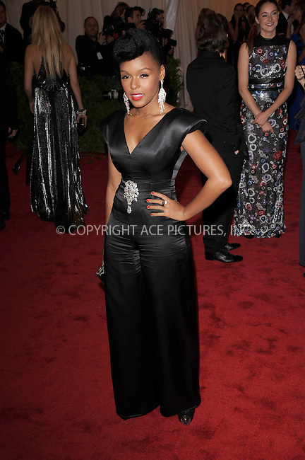 """WWW.ACEPIXS.COM . . . . . .May 7, 2012...New York City.... Janelle Monae attending the """"Schiaparelli and Prada: Impossible Conversations"""" Costume Institute Gala at The Metropolitan Museum of Art in New York City on May 7, 2012  in New York City ....Please byline: KRISTIN CALLAHAN - ACEPIXS.COM.. . . . . . ..Ace Pictures, Inc: ..tel: (212) 243 8787 or (646) 769 0430..e-mail: info@acepixs.com..web: http://www.acepixs.com ."""