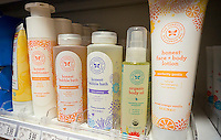 The Honest Co. products in a health and beauty aid store in New York on Wednesday, July 27, 2016. The company, founded by Jessica Alba in 2012, is reported to be up for sale. The company is valued at $1.7 billion but has never been profitable. Previously the company was reported to be preparing for an initial public offering. (© Richard B. Levine)