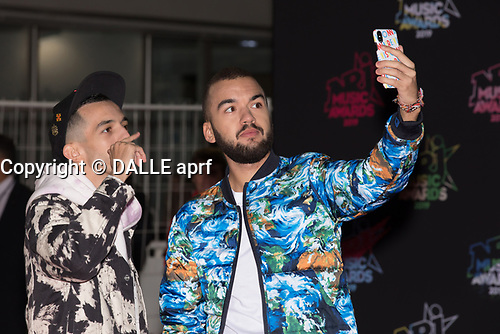 French singers Bigflo and Oli poses on the red carpet as she arrives to attend the 21st NRJ Music Awards ceremony at the Palais des Festivals in Cannes, southeastern France, on November 9, 2019<br /> Les chanteurs français Big Flo et Oli posent sur le tapis rouge lors de son arrivee a la 21e ceremonie des NRJ Music Awards au Palais des Festivals a Cannes, dans le sud-est de la France - le 9 novembre 2019.<br /> Eric Dervaux_ DALLE