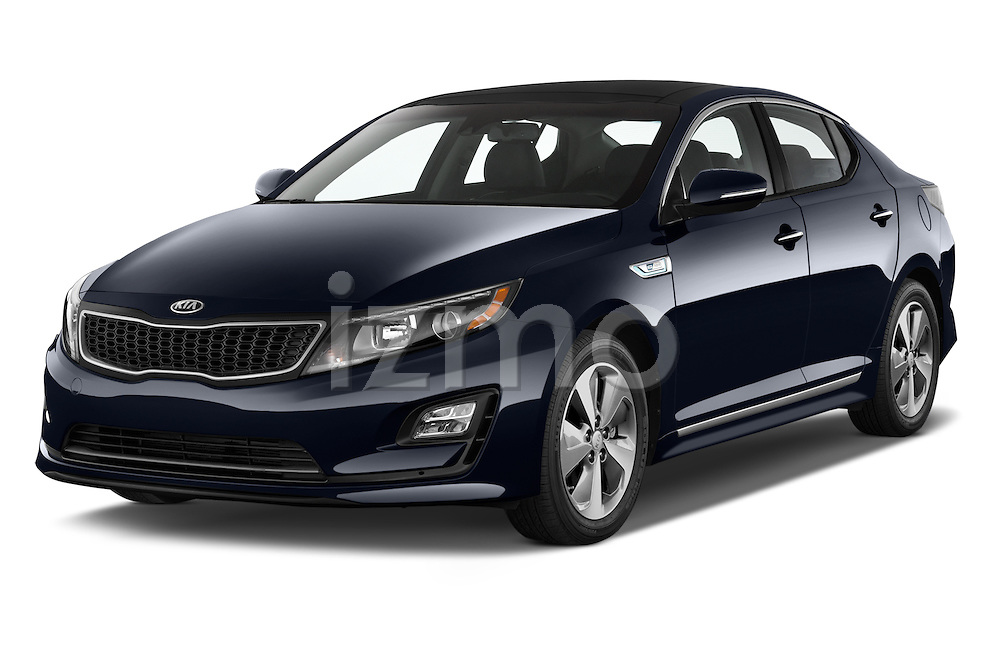 2014 KIA Optima Hybrid EX 4 Door Sedan Angular Front stock photos of front three quarter view