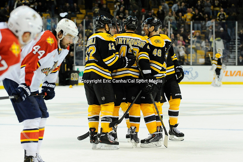 March 4, 2014 - Boston, Massachusetts, U.S. - during the NHL game between the Florida Panthers and the Boston Bruins held at TD Garden in Boston Massachusetts.   The Bruins defeated the Panthers 4-1 in regulation time  Eric Canha/CSM