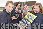 PHONES: Lyreacrompane national school children who are collecting old mobile phones for Irish Autism Action, l-r: Mike Keane, Eileen Valentine, Caoimhe Nolan, Grace O'Regan.