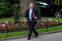 Michael Gove MP (Secretary of State for Environment, Food and Rural Affairs).<br /> <br /> London, 12/06/2017. Today, Theresa May's reshuffled Cabinet met at 10 Downing Street after the General Election of the 8 June 2017. Philip Hammond MP - not present in the photos - was confirmed as Chancellor of the Exchequer. <br /> After 5 years of the Coalition Government (Conservatives &amp; Liberal Democrats) led by the Conservative Party leader David Cameron, and one year of David Cameron's Government (Who resigned after the Brexit victory at the EU Referendum held in 2016), British people voted in the following way: the Conservative Party gained 318 seats (42.4% - 13,667,213 votes &ndash; 12 seats less than 2015), Labour Party 262 seats (40,0% - 12,874,985 votes &ndash; 30 seats more then 2015); Scottish National Party, SNP 35 seats (3,0% - 977,569 votes &ndash; 21 seats less than 2015); Liberal Democrats 12 seats (7,4% - 2,371,772 votes &ndash; 4 seats more than 2015); Democratic Unionist Party 10 seats (0,9% - 292,316 votes &ndash; 2 seats more than 2015); Sinn Fein 7 seats (0,8% - 238,915 votes &ndash; 3 seats more than 2015); Plaid Cymru 4 seats (0,5% - 164,466 votes &ndash; 1 seat more than 2015); Green Party 1 seat (1,6% - 525,371votes &ndash; Same seat of 2015); UKIP 0 seat (1.8% - 593,852 votes); others 1 seat. <br /> The definitive turn out of the election was 68.7%, 2% higher than the 2015.<br /> <br /> For more info about the election result click here: http://bbc.in/2qVyNRd &amp; http://bit.ly/2s9ob51<br /> <br /> For more info about the Cabinet Ministers click here: https://goo.gl/wmRYRd