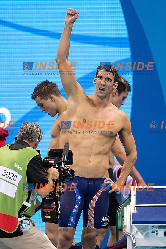 Team USA Phelps Michael and Dressel Caeleb<br /> 4x100 freestyle men<br /> Rio de JaneiroXXXI Olympic Games <br /> Olympic Aquatics Stadium <br /> Swimming finals 07/08/2016<br /> Photo Giorgio Scala/Deepbluemedia/Insidefoto
