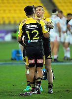 TJ Perenara talks to Willis Halaholo after the Super Rugby semifinal match between the Hurricanes and Chiefs at Westpac Stadium, Wellington, New Zealand on Saturday, 30 July 2016. Photo: Dave Lintott / lintottphoto.co.nz