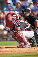 Illinois State Redbirds catcher Jean Ramirez (27) and umpire Zack Tiche during a game against the Indiana Hoosiers on March 4, 2016 at North Charlotte Regional Park in Port Charlotte, Florida.  Indiana defeated Illinois State 14-1.  (Mike Janes/Four Seam Images)