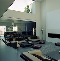 The living area is flooded with natural light from the series of glass walls that surround it