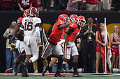 January 8th 2018, Atlanta, GA, USA; Georgia Bulldogs wide receiver Mecole Hardman (4) celebrates with teammates after scoring a touchdown during the College Football Playoff National Championship Game between the Alabama Crimson Tide and the Georgia Bulldogs on January 8, 2018 at Mercedes-Benz Stadium in Atlanta, GA.