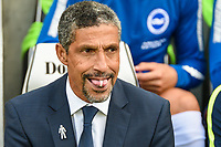 Chris Hughton Manager of Brighton & Hove Albion during the EPL - Premier League match between Brighton and Hove Albion and Manchester City at the American Express Community Stadium, Brighton and Hove, England on 12 August 2017. Photo by Edward Thomas / PRiME Media Images.