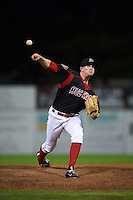 Batavia Muckdogs pitcher Chuck Weaver (38) delivers a pitch during a game against the State College Spikes August 23, 2015 at Dwyer Stadium in Batavia, New York.  State College defeated Batavia 5-3.  (Mike Janes/Four Seam Images)