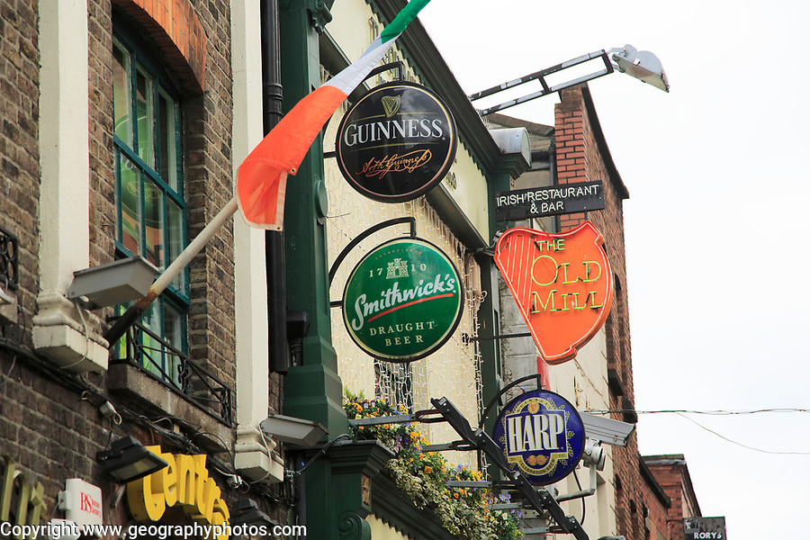 Beer signs outside The Old Mill pub in Temple Bar area, Dublin city centre, Ireland, Republic of Ireland