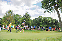 Thomas Pieters (BEL) and Zach Johnson (USA) make their way from the 4th tee during Sunday's final round of the World Golf Championships - Bridgestone Invitational, at the Firestone Country Club, Akron, Ohio. 8/6/2017.<br /> Picture: Golffile | Ken Murray<br /> <br /> <br /> All photo usage must carry mandatory copyright credit (&copy; Golffile | Ken Murray)