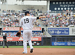 Masahiro Tanaka (Yankees),<br /> JUNE 5, 2014 - MLB :<br /> Pitcher Masahiro Tanaka of the New York Yankees reacts after covering first base on a ground-out in the top of the third inning during the Major League Baseball game against the Oakland Athletics at Yankee Stadium in Bronx, New York, United States. (Photo by AFLO)
